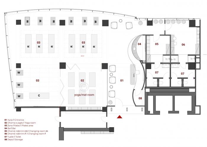 Planimetria e studios Core Pilates & yoga nga arkitekte Nesila Hajdini